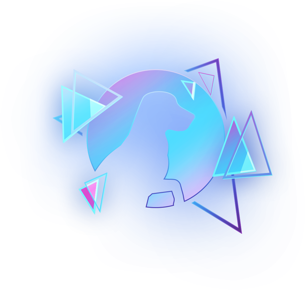 Logo of a dog with triangles and colorfull lights